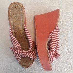 Vintage Pink White Striped Bow Wedge Espadrille.